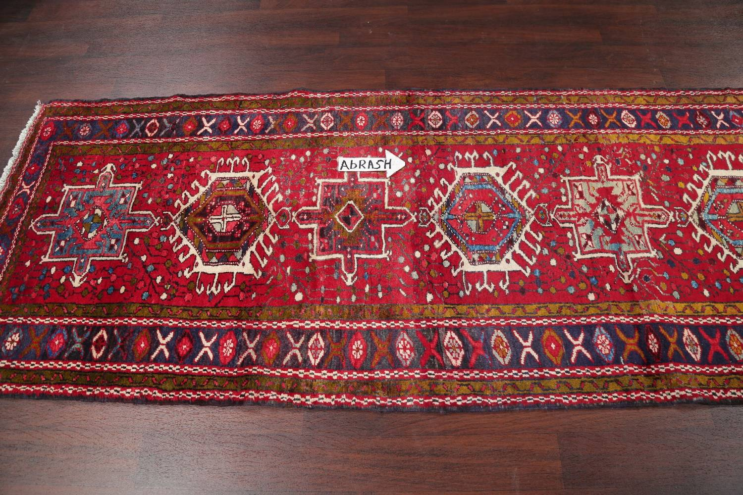 One-of-a-Kind Red Geometric Heriz Persian Hand-Knotted 4x13 Wool Runner Rug image 10