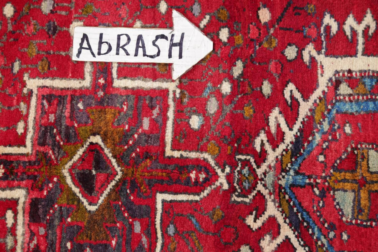 One-of-a-Kind Red Geometric Heriz Persian Hand-Knotted 4x13 Wool Runner Rug image 11