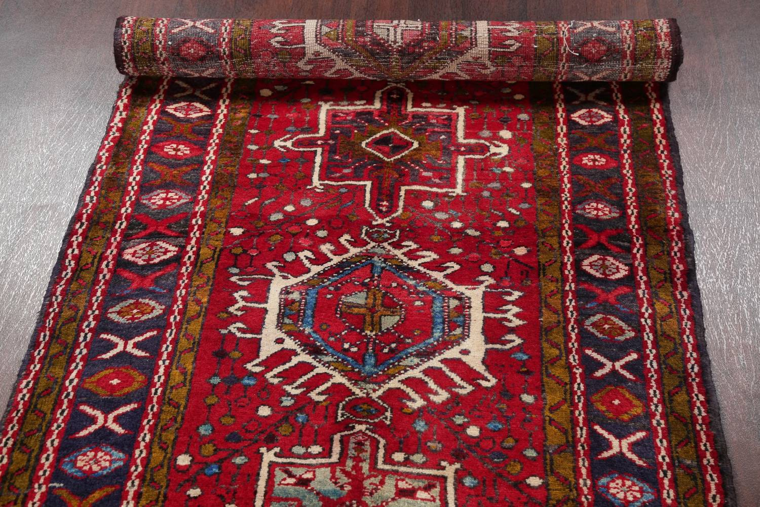 One-of-a-Kind Red Geometric Heriz Persian Hand-Knotted 4x13 Wool Runner Rug image 16