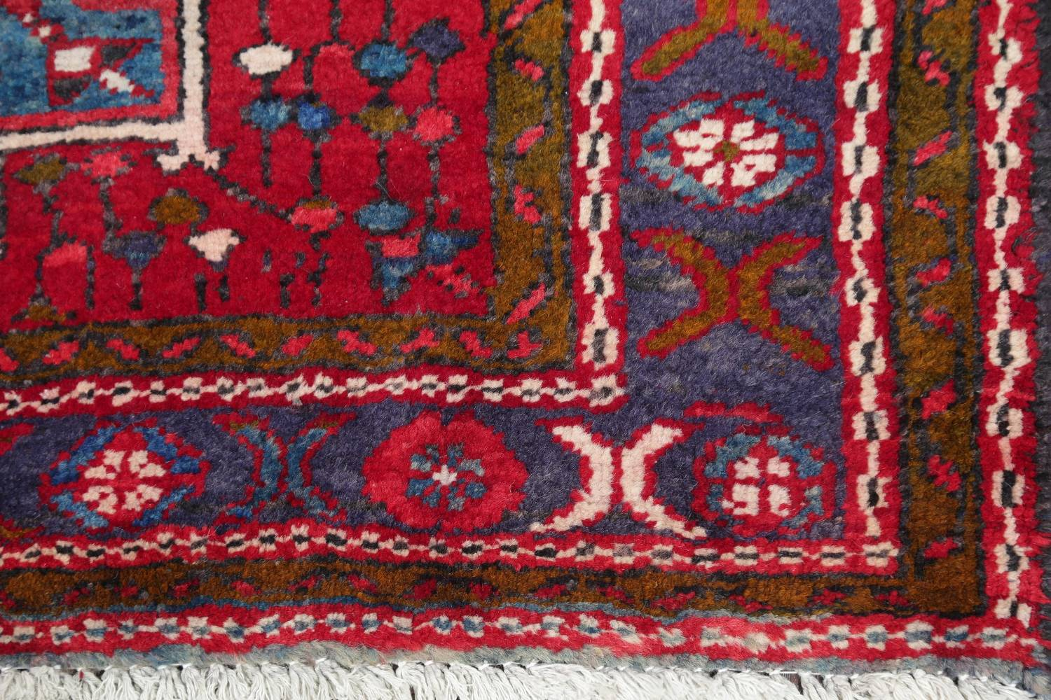 One-of-a-Kind Red Geometric Heriz Persian Hand-Knotted 4x13 Wool Runner Rug image 6