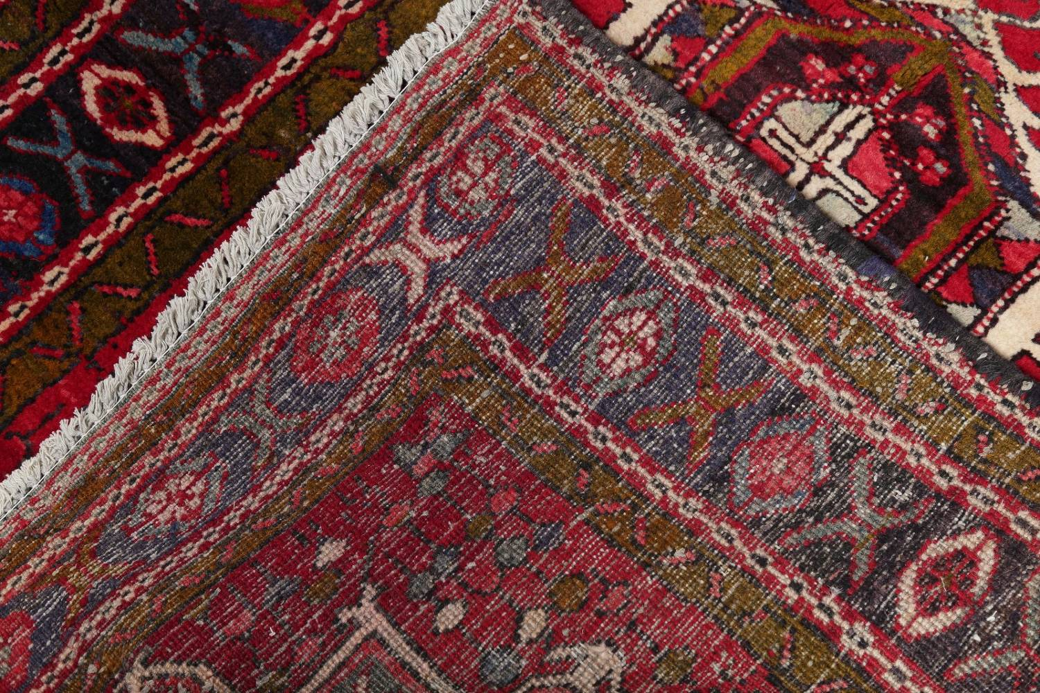 One-of-a-Kind Red Geometric Heriz Persian Hand-Knotted 4x13 Wool Runner Rug image 20