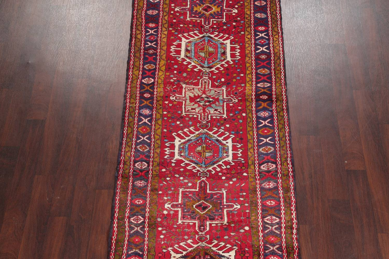 One-of-a-Kind Red Geometric Heriz Persian Hand-Knotted 4x13 Wool Runner Rug image 3