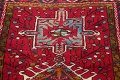 One-of-a-Kind Red Geometric Heriz Persian Hand-Knotted 4x13 Wool Runner Rug image 12
