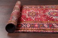 One-of-a-Kind Red Geometric Heriz Persian Hand-Knotted 4x13 Wool Runner Rug image 17