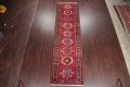 One-of-a-Kind Red Geometric Heriz Persian Hand-Knotted 4x13 Wool Runner Rug image 2