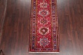 One-of-a-Kind Red Geometric Heriz Persian Hand-Knotted 4x13 Wool Runner Rug image 5