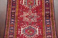 One-of-a-Kind Red Geometric Heriz Persian Hand-Knotted 4x13 Wool Runner Rug image 4