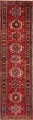 One-of-a-Kind Red Geometric Heriz Persian Hand-Knotted 4x13 Wool Runner Rug image 1