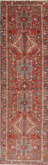 One-of-a-Kind Tribal Gharajeh Persian Hand-Knotted 4x13 Wool Runner Rug