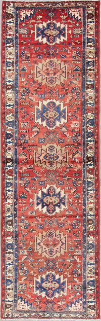 Red Geometric Heriz Persian Hand-Knotted 3x10 Wool Runner Rug
