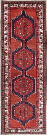 Red Geometric Meshkin Persian Hand-Knotted 4x11 Wool Runner Rug