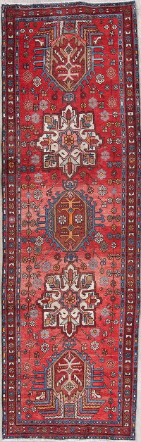 Red Geometric Heriz Persian Hand-Knotted 3x9 Wool Runner Rug