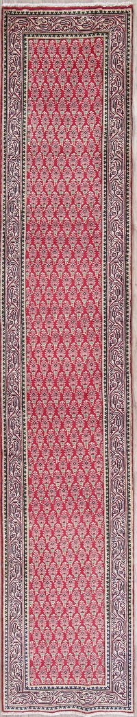All-Over Geometric Tabriz Persian Hand-Knotted 2x13 Wool Runner Rug
