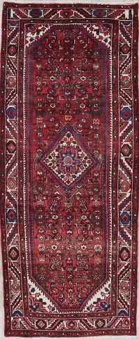 Red Geometric Hamedan Persian Hand-Knotted 4x9 Wool Runner Rug