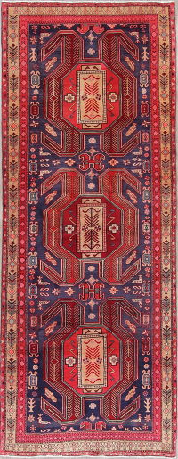 Red Geometric Meshkin Persian Hand-Knotted 4x12 Wool Runner Rug