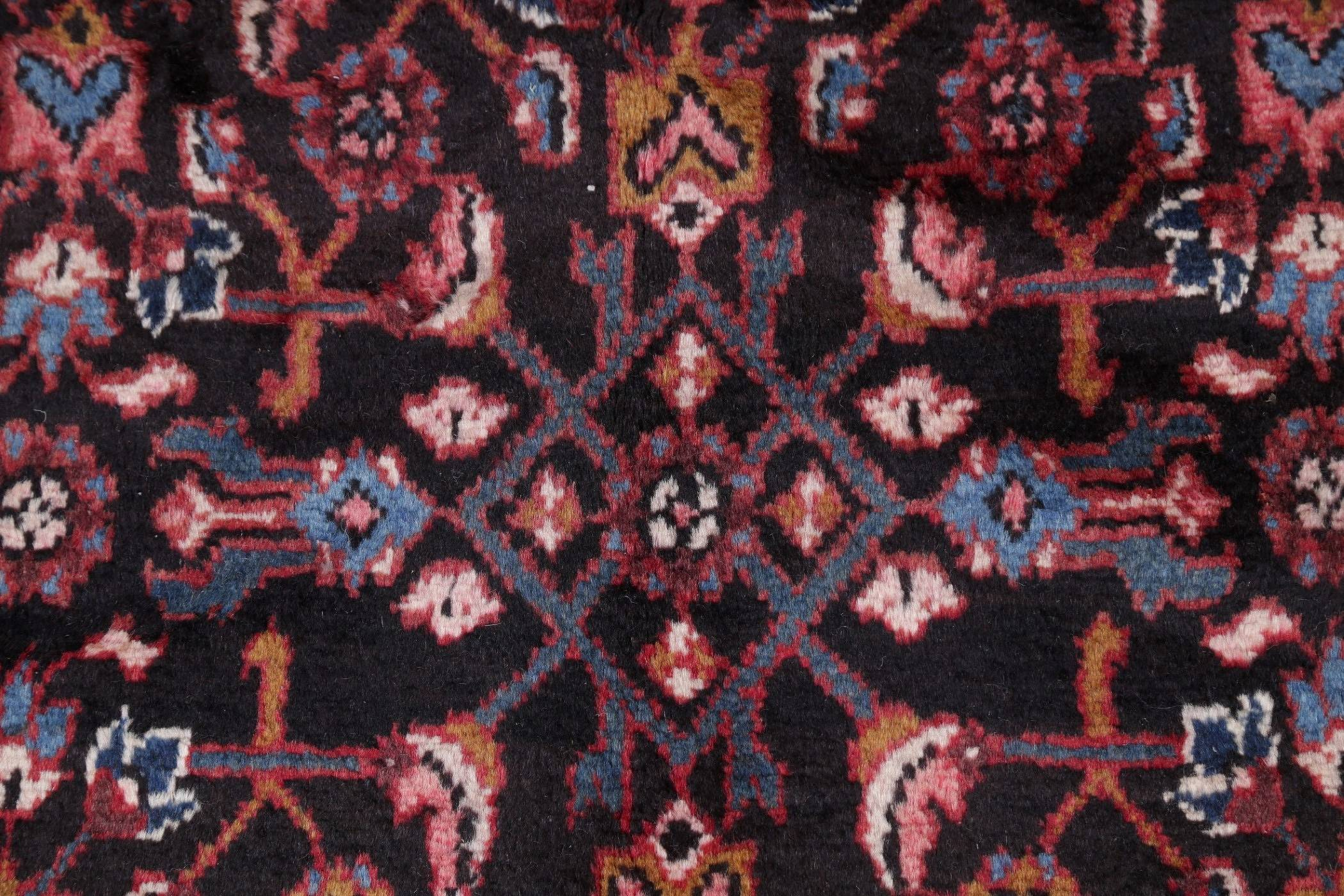 All-Over Geometric Hamedan Persian Hand-Knotted 4x16 Wool Runner Rug