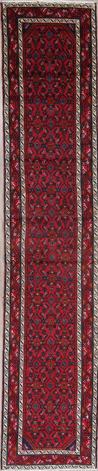 All-Over Red Malayer Persian Hand-Knotted 3x13 Wool Runner Rug