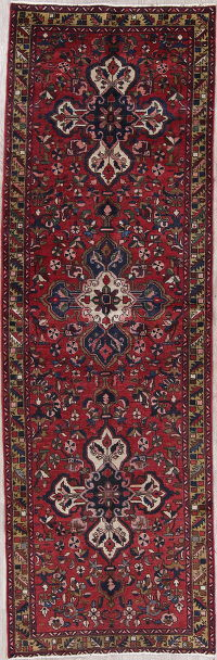 Geometric Red Ardebil Persian Hand-Knotted 4x11 Wool Runner Rug