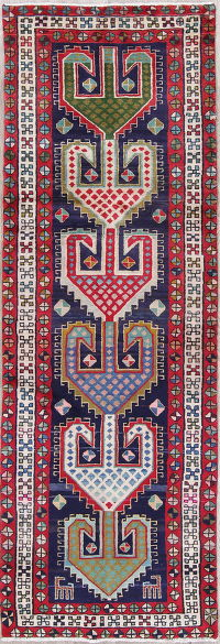 One-of-a-Kind Geometric Ardebil Persian Handmade 3x10 Runner Rug