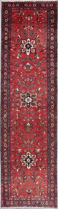 Red Geometric Heriz Persian Hand-Knotted 3x13 Wool Runner Rug