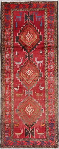 Tribal Geometric Meshkin Persian Hand-Knotted 4x10 Wool Runner Rug