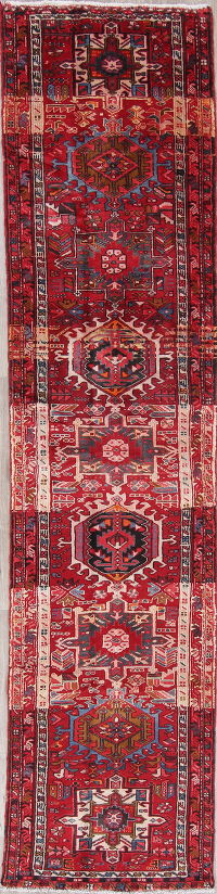 Tribal Geometric Gharajeh Persian Hand-Knotted 3x13 Runner Rug