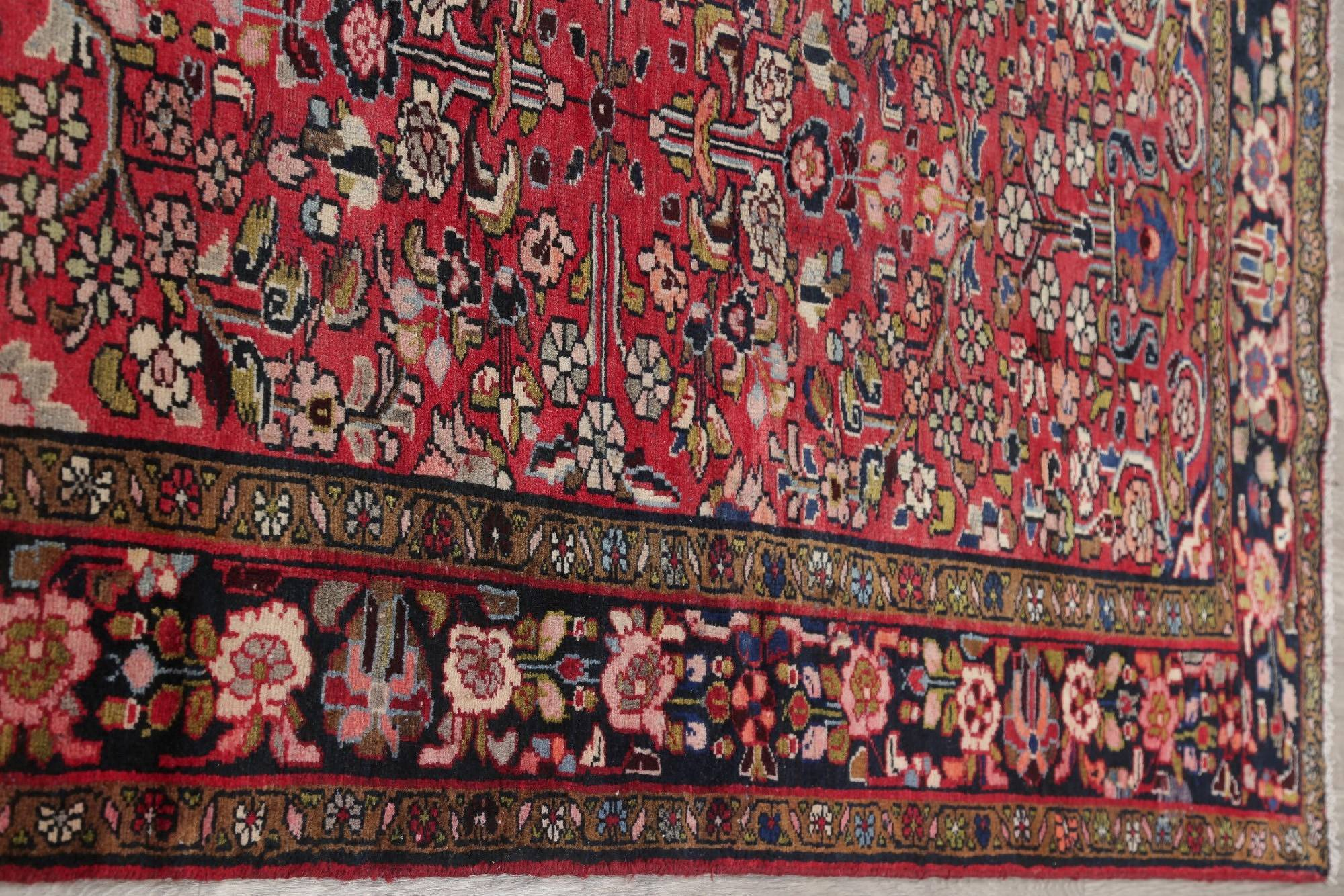 Floral Red Malayer Persian Hand-Knotted 4x12 Wool Runner Rug