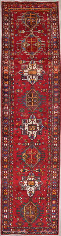One-of-a-Kind Tribal Heriz Persian Hand-Knotted 4x14 Wool Runner Rug
