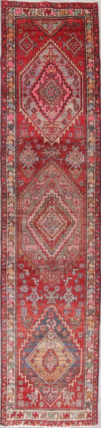 Antique Geometric Heriz Persian Hand-Knotted 2x10 Wool Runner Rug