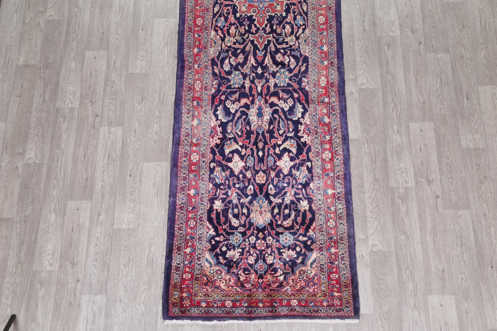 Navy Blue Geometric Mahal Persian Hand-Knotted 3x15 Wool Runner Rug