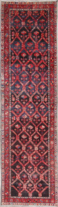 Red Geometric Malayer Persian Hand-Knotted 4x13 Wool Runner Rug