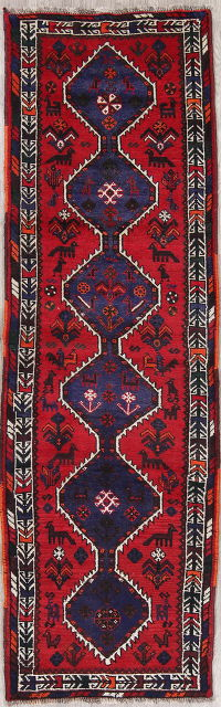 One-of-a-Kind Tribal Shiraz Persian Hand-Knotted 3x10 Wool Runner Rug
