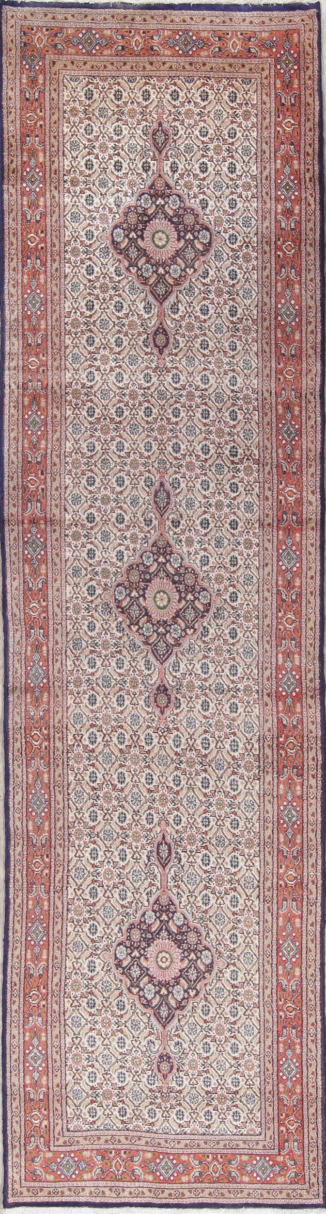 All-Over Ivory Bidjar Persian Hand-Knotted 3x9 Wool Runner Rug