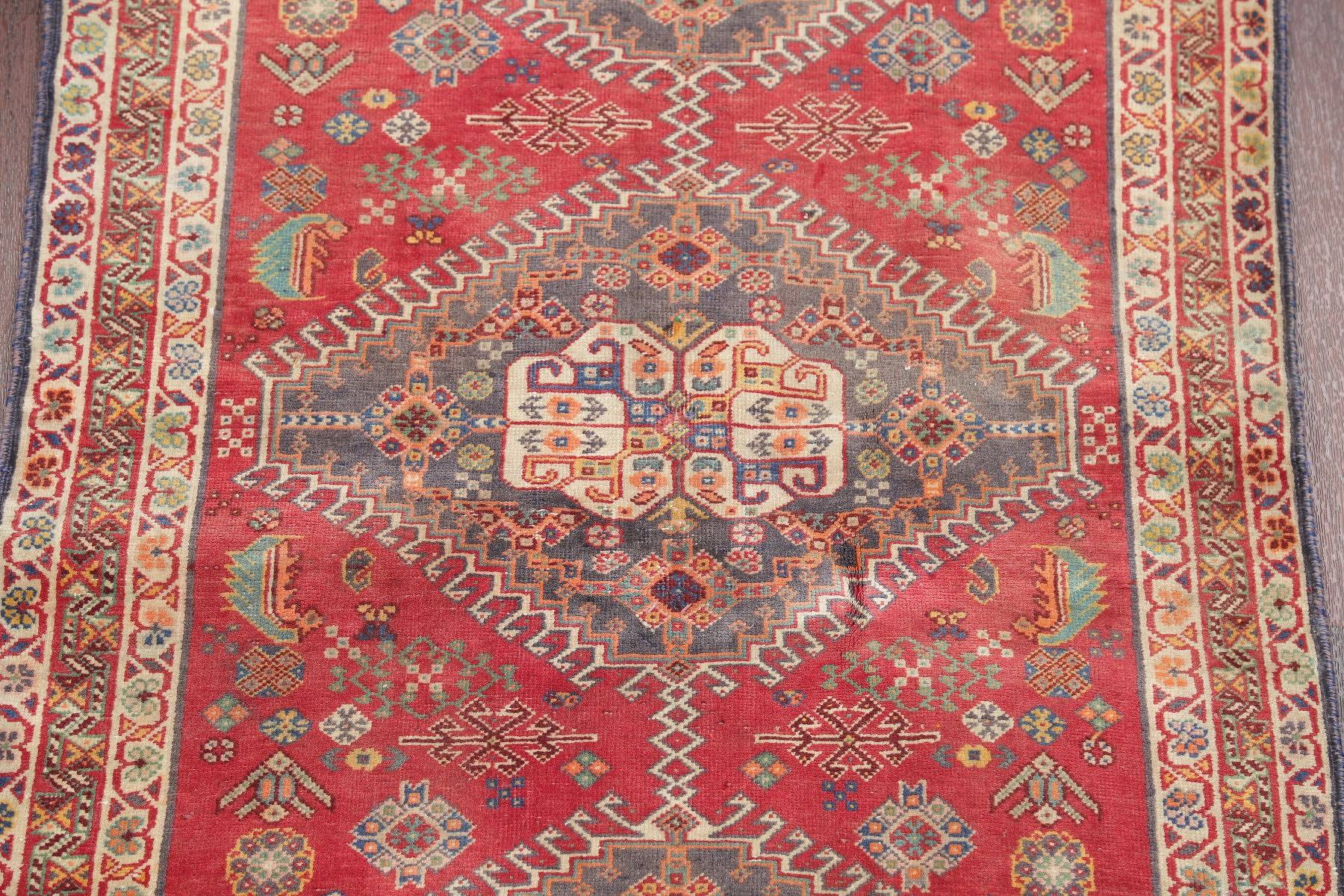 Antique Red Tribal Kashkoli Persian Hand-Knotted 3x5 Wool Rug