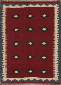One-of-a-Kind Geometric Kilim Persian Hand-Woven 3x5 Wool Rug