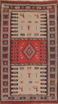 Tribal Kilim Persian Hand-Woven 3x6 Wool Beige Runner Rug