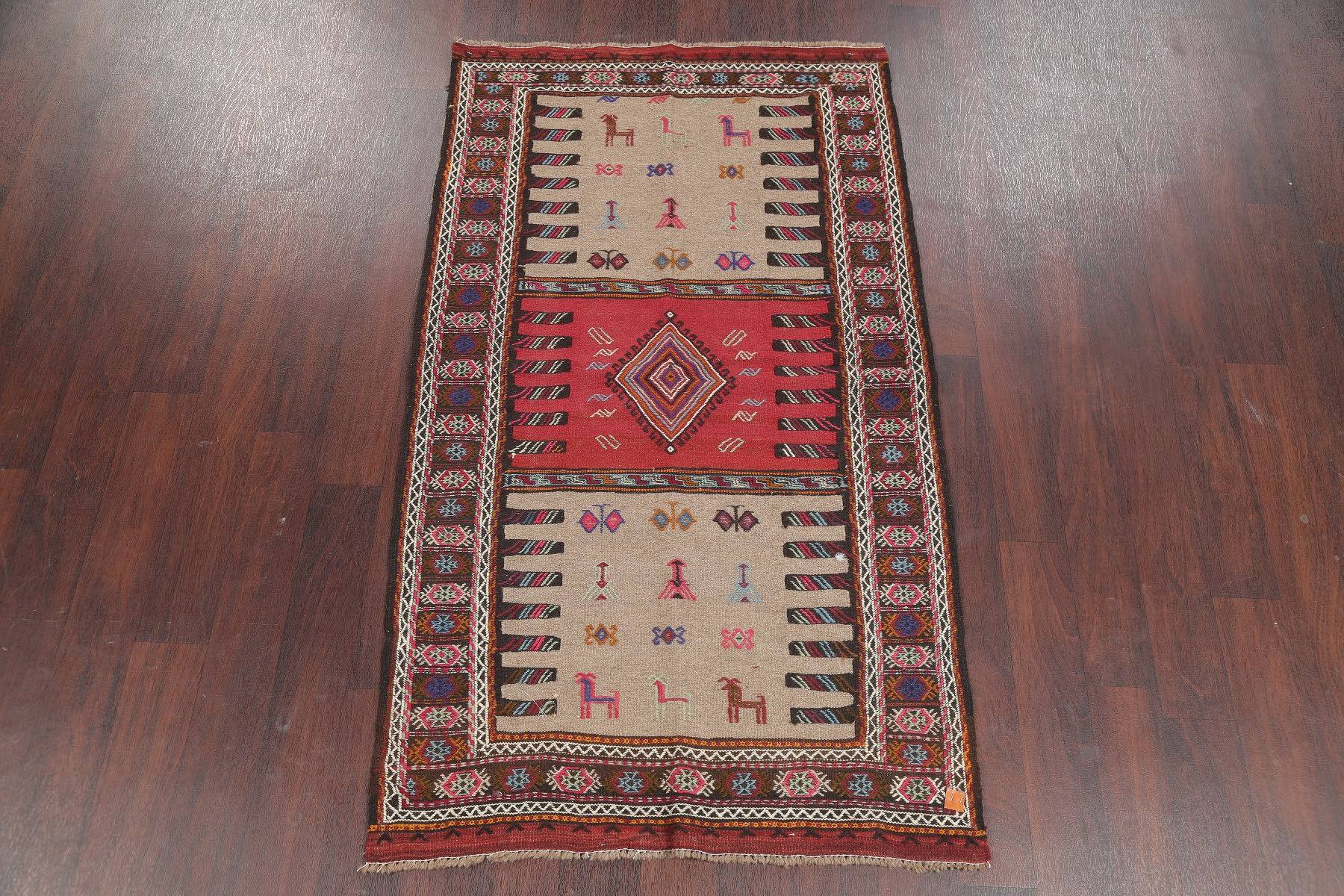 Brown Tribal Kilim Persian Hand-Woven 3x6 Wool Runner Rug