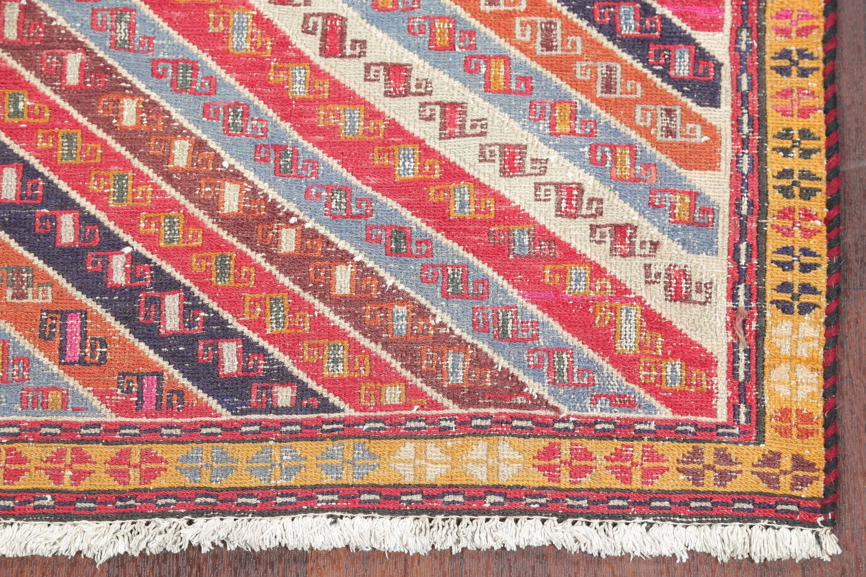 Antique Flat-Woven Geometric Kilim Persian Hand-Woven 3x7 Runner Rug
