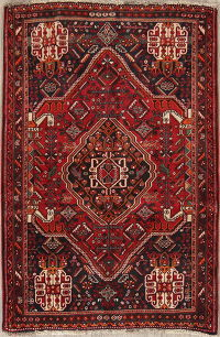 One-of-a-Kind Tribal Shiraz Persian Hand-Knotted 4x5 Wool Area Rug