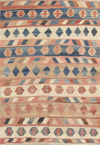 One-of-a-Kind Geometric Kilim Persian Hand-Woven 4x5 Wool Rug