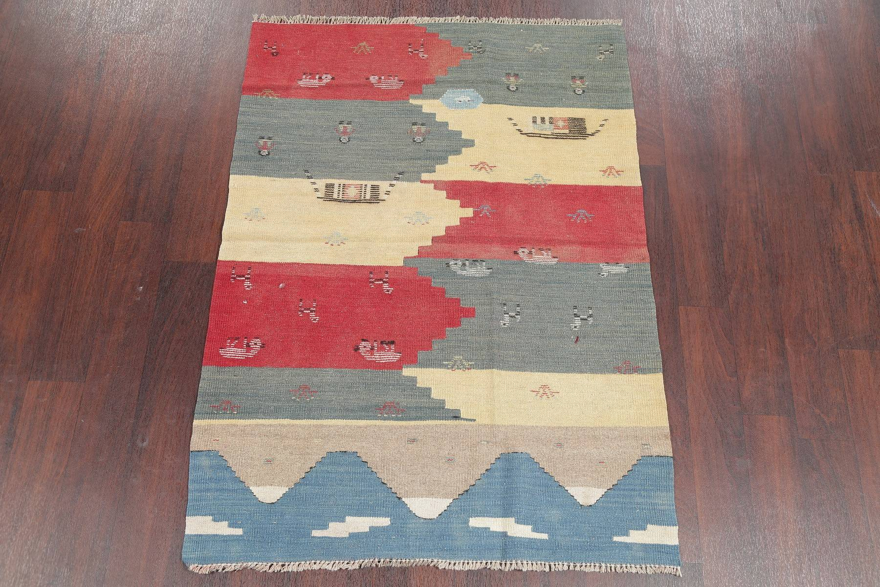 One-of-a-Kind Tribal Kilim Persian Hand-Woven 3x5 Wool Rug