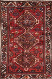 Tribal Geometric Shiraz Persian Hand-Knotted 3x5 Wool Rug