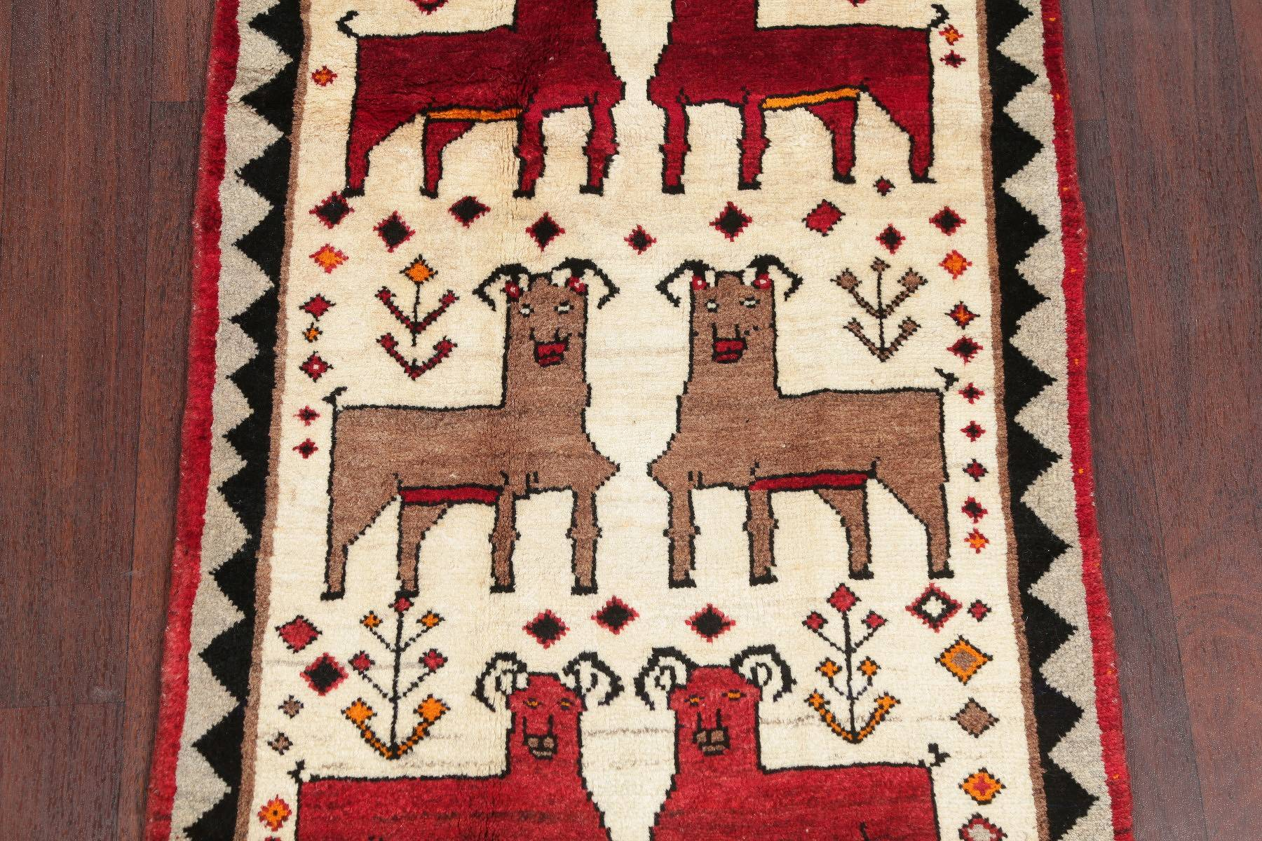 Animal Pictorial Gabbeh Qashqai Persian Hand-Knotted 3x4 Wool Rug