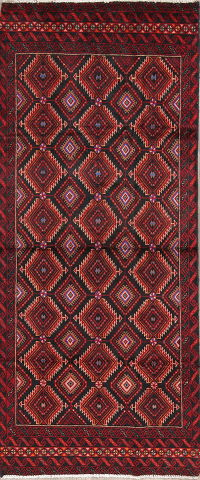 Red/Black Geometric Balouch Persian Hand-Knotted 3x6 Wool Runner Rug