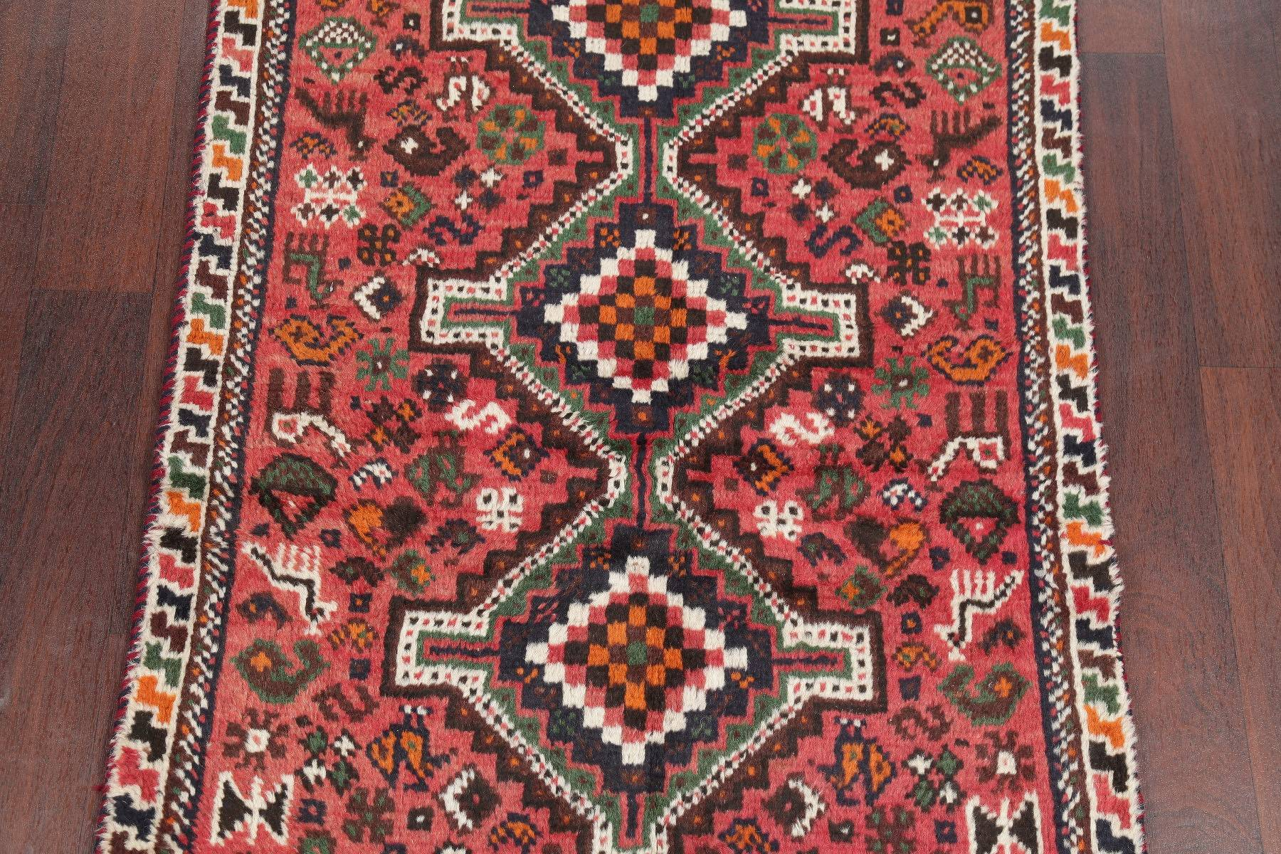 One-of-a-Kind Tribal Shiraz Persian Hand-Knotted 3x5 Wool Rug