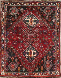 Tribal Geometric Abadeh Nafar Persian Hand-Knotted 4x5 Wool Rug