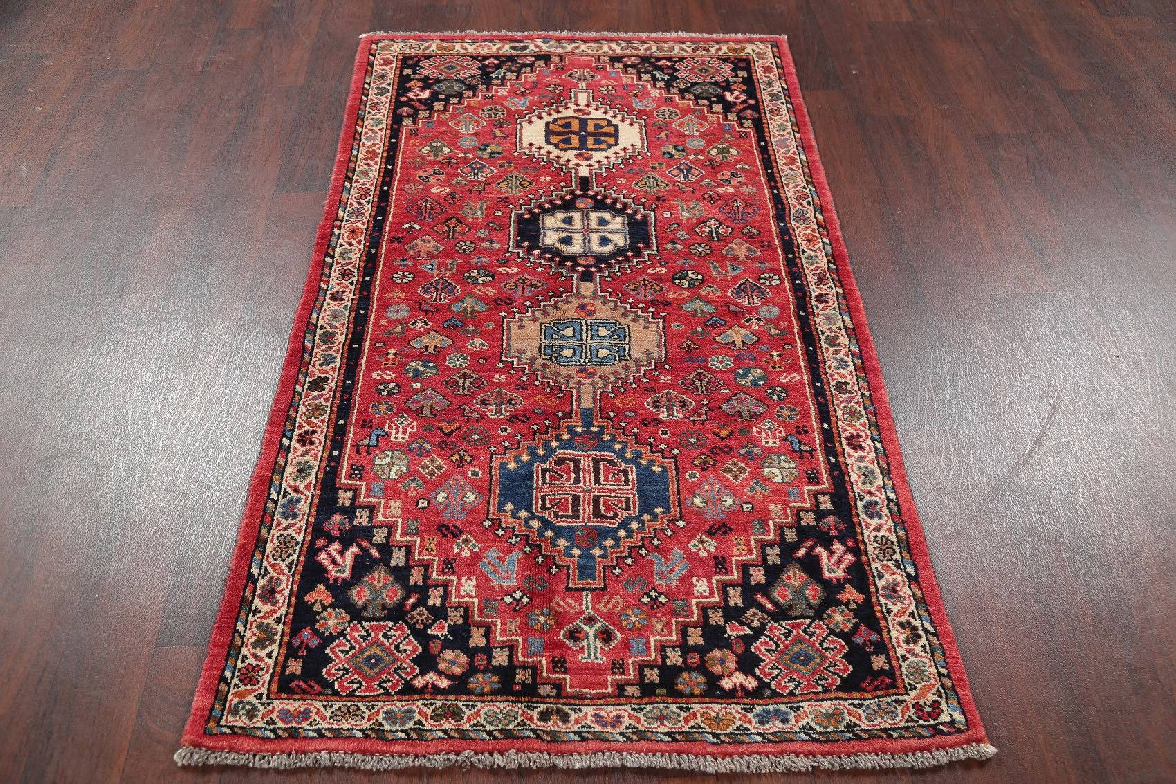One-of-a-Kind Tribal Shiraz Persian Hand-Knotted 3x6 Runner Rug