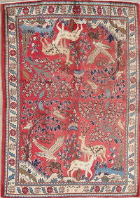 Floral Animal Pictorial Abadeh Persian Handmade 4x5 Wool Area Rug