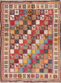 Antique Checked Tribal Gabbeh Qashqai Persian 4x5 Wool Area Rug