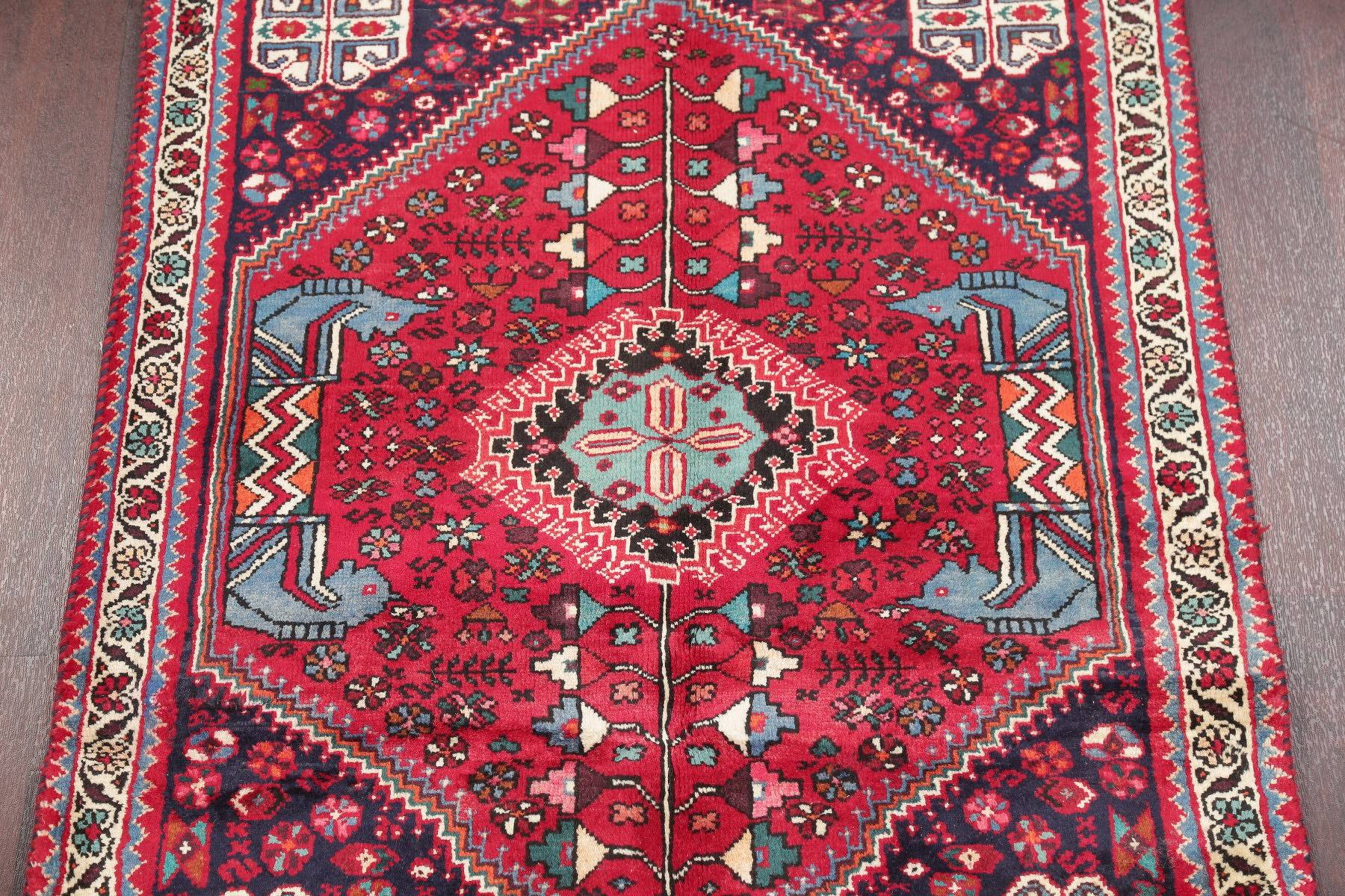 Tribal Shiraz Persian Hand-Knotted 3x4 Wool Rug